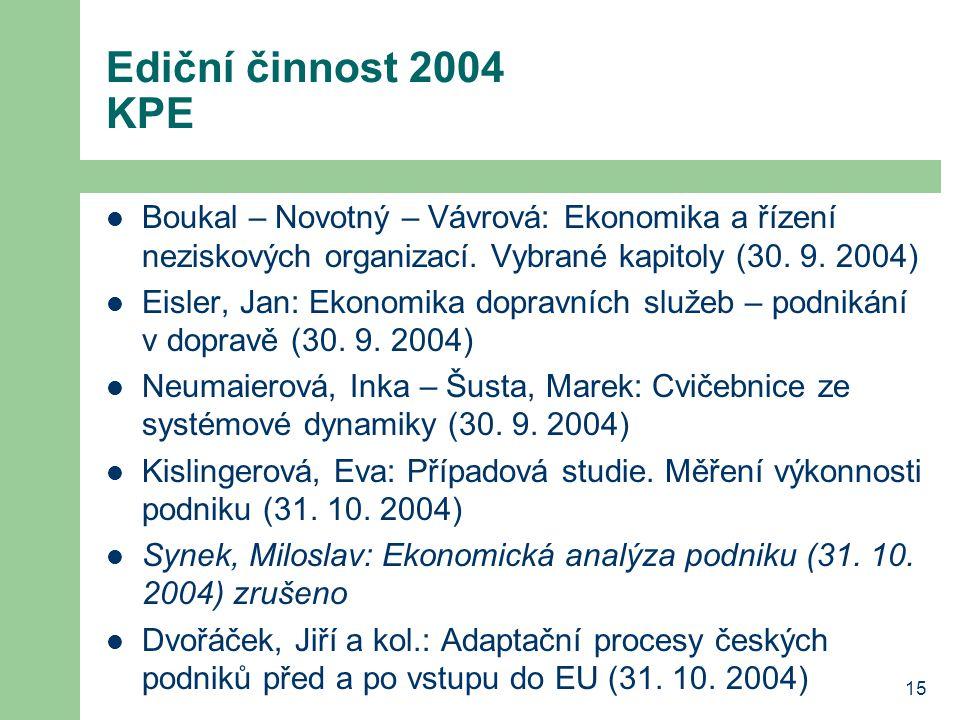 Ediční činnost 2004 KPE Boukal – Novotný – Vávrová: Ekonomika a řízení neziskových organizací. Vybrané kapitoly (30. 9. 2004)