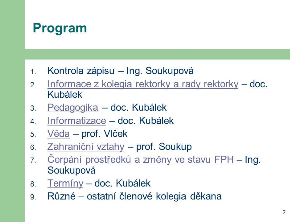 Program Kontrola zápisu – Ing. Soukupová