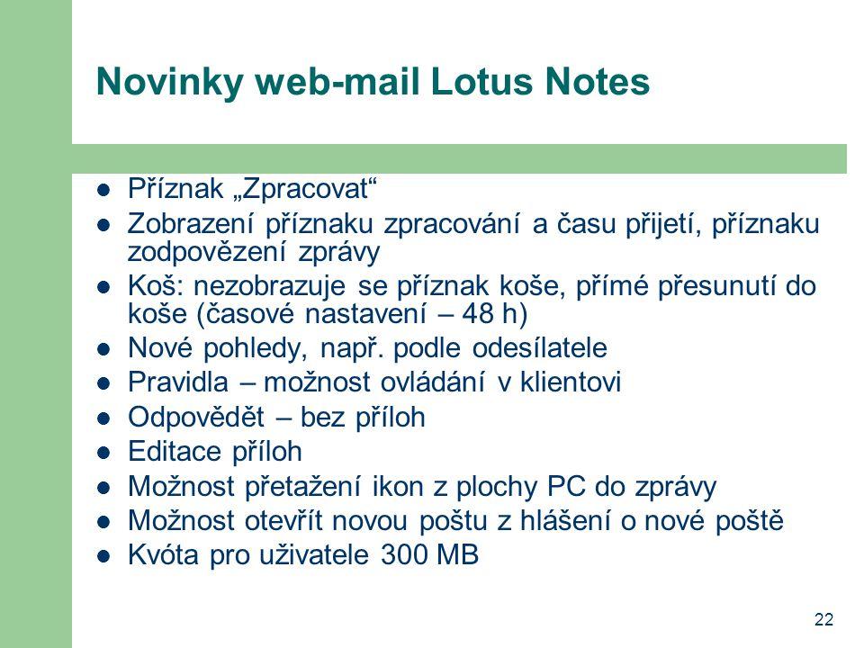 Novinky web-mail Lotus Notes