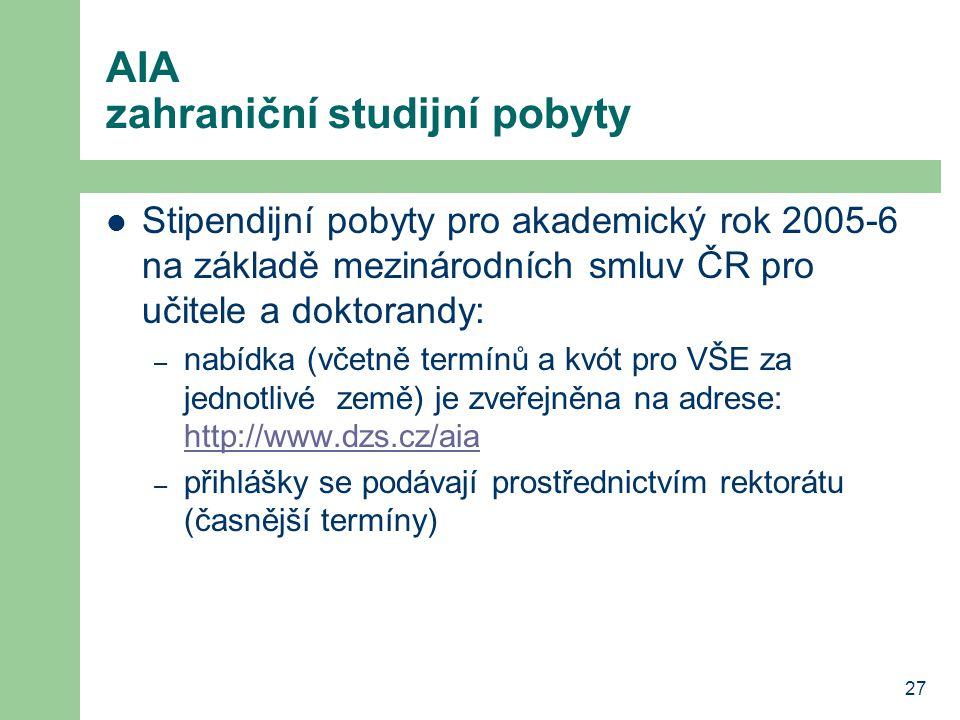 AIA zahraniční studijní pobyty