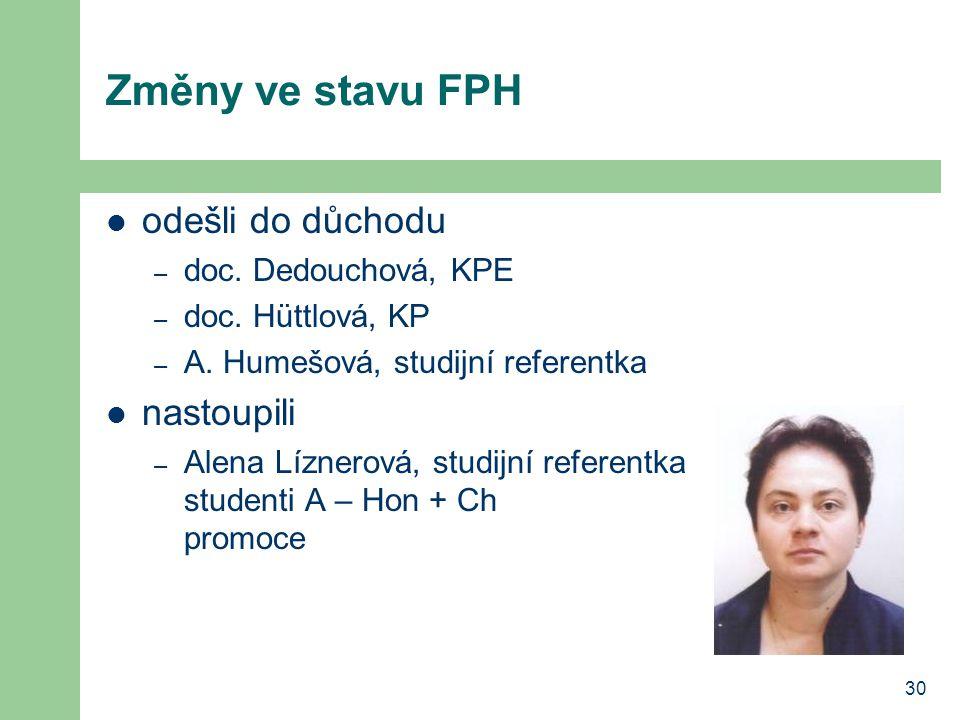 Změny ve stavu FPH odešli do důchodu nastoupili doc. Dedouchová, KPE