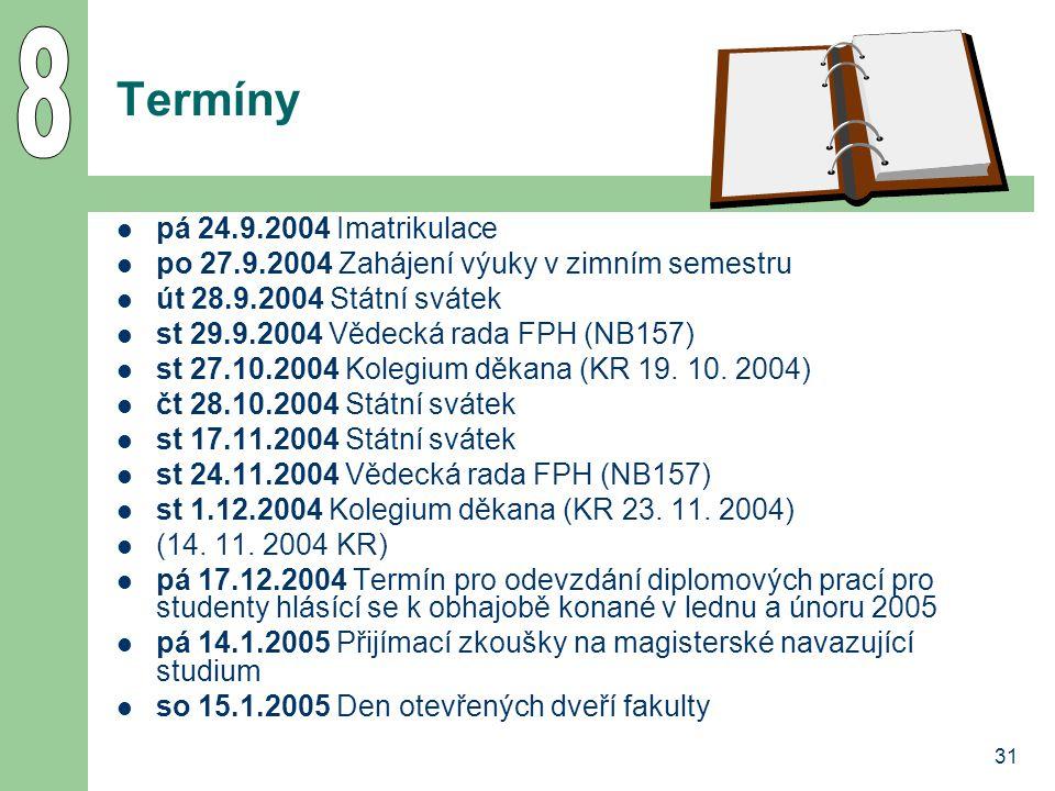 8 Termíny pá 24.9.2004 Imatrikulace
