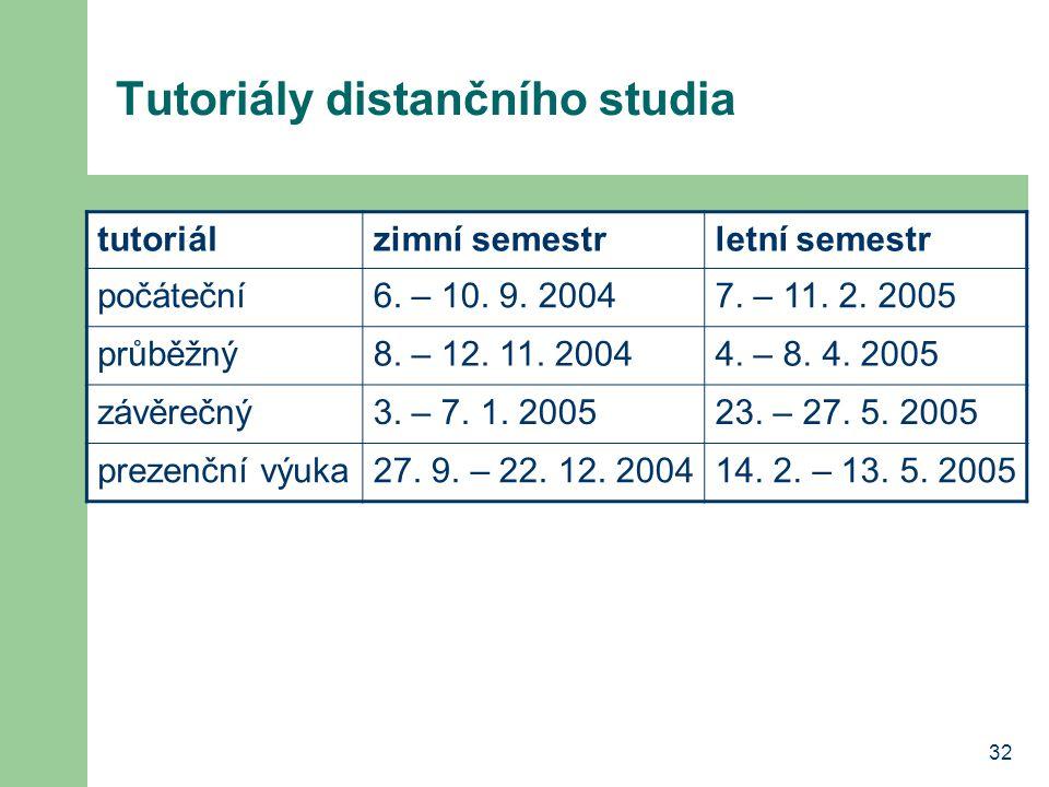 Tutoriály distančního studia