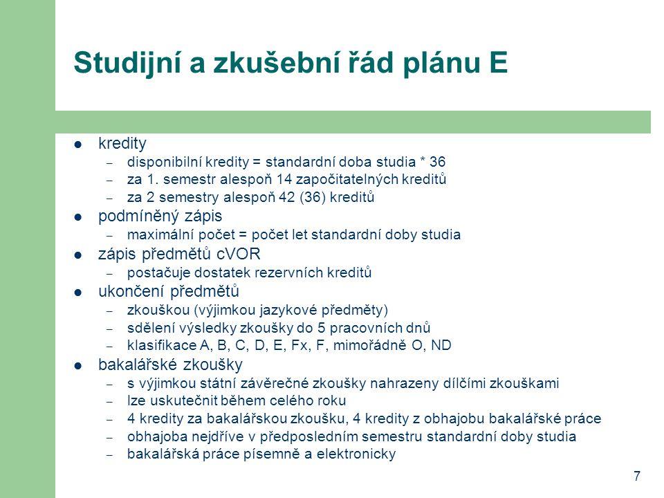 Studijní a zkušební řád plánu E