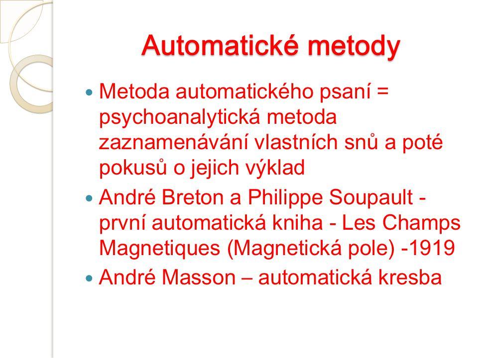 Automatické metody Metoda automatického psaní = psychoanalytická metoda zaznamenávání vlastních snů a poté pokusů o jejich výklad.