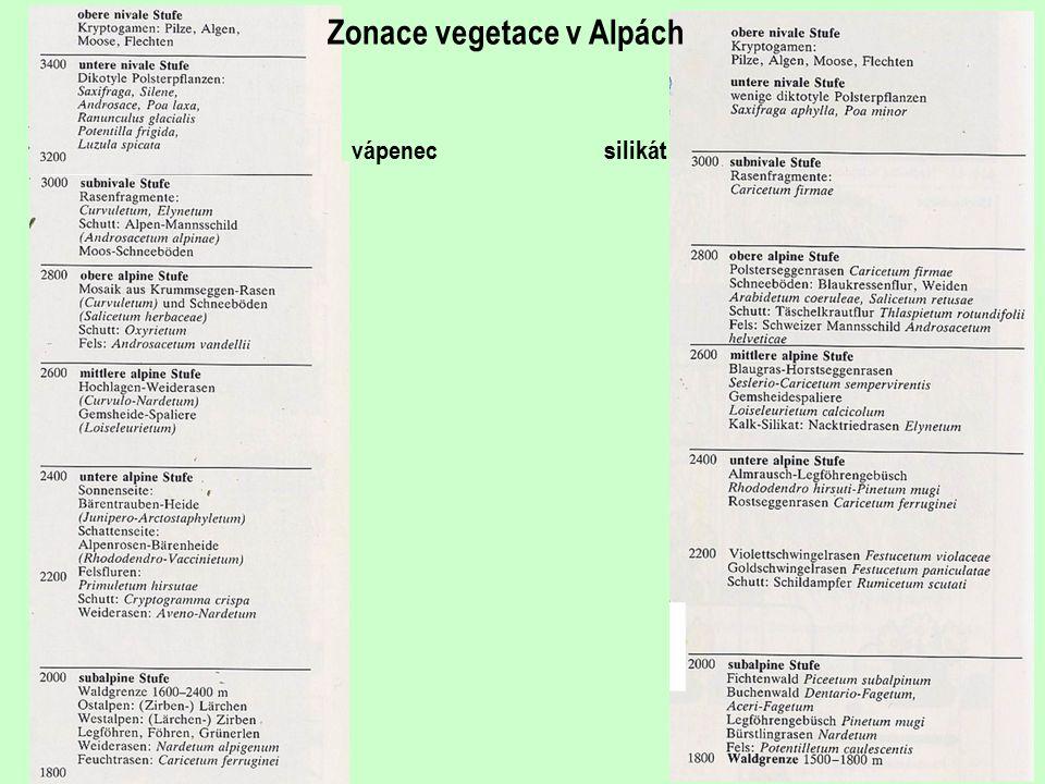 Zonace vegetace v Alpách