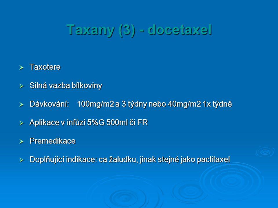 Taxany (3) - docetaxel Taxotere Silná vazba bílkoviny