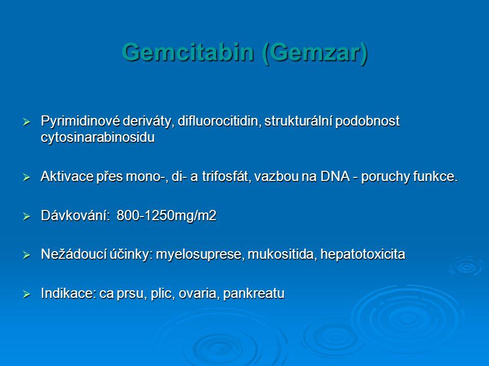 Gemcitabin (Gemzar) Pyrimidinové deriváty, difluorocitidin, strukturální podobnost cytosinarabinosidu.