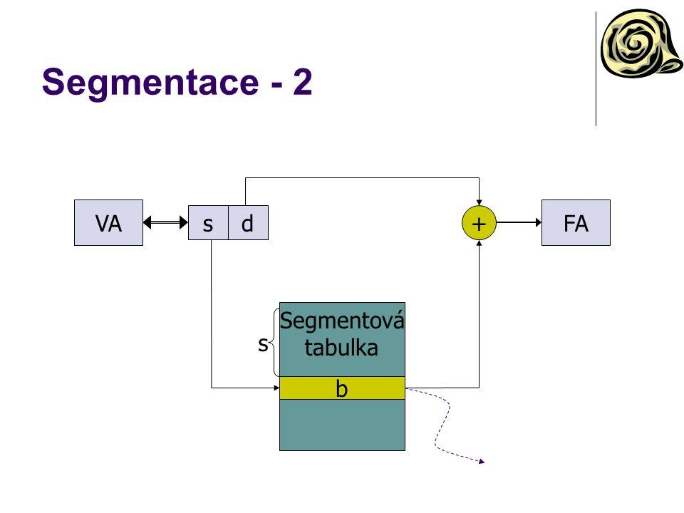 Segmentace - 2 VA FA s d + Segmentová tabulka s b