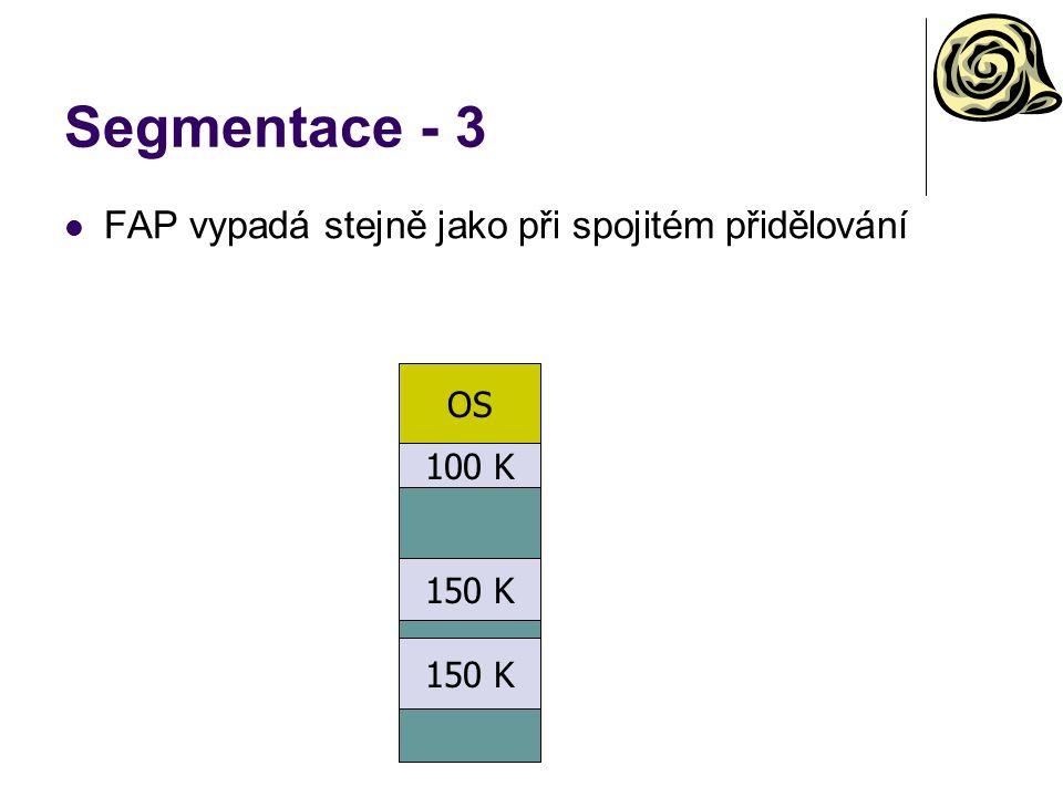Segmentace - 3 FAP vypadá stejně jako při spojitém přidělování OS