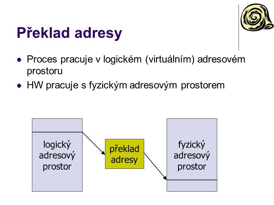 Překlad adresy Proces pracuje v logickém (virtuálním) adresovém prostoru. HW pracuje s fyzickým adresovým prostorem.