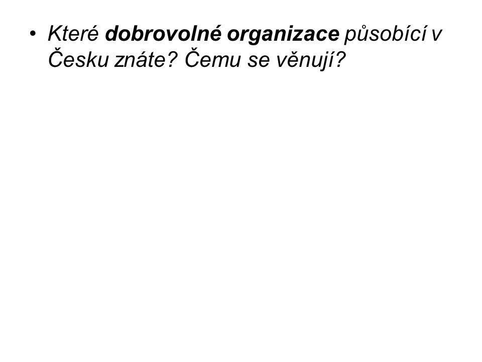 Které dobrovolné organizace působící v Česku znáte Čemu se věnují