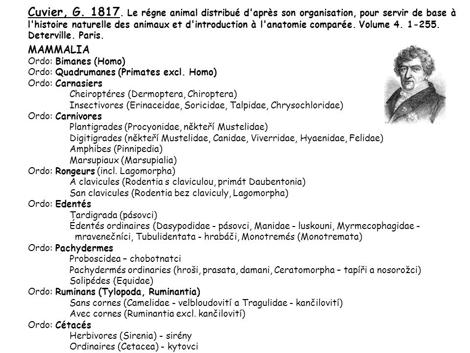 Cuvier, G. 1817. Le régne animal distribué d après son organisation, pour servir de base à l histoire naturelle des animaux et d introduction à l anatomie comparée. Volume 4. 1-255. Deterville. Paris.