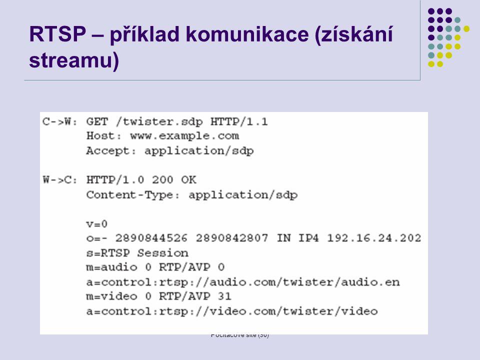 RTSP – příklad komunikace (získání streamu)