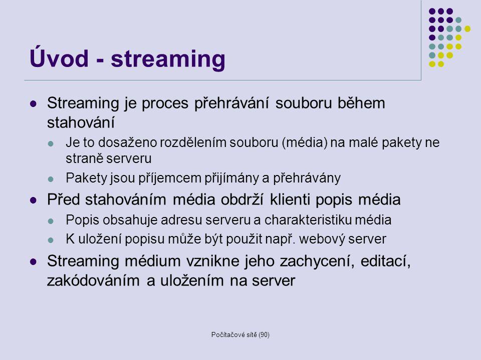 Úvod - streaming Streaming je proces přehrávání souboru během stahování. Je to dosaženo rozdělením souboru (média) na malé pakety ne straně serveru.