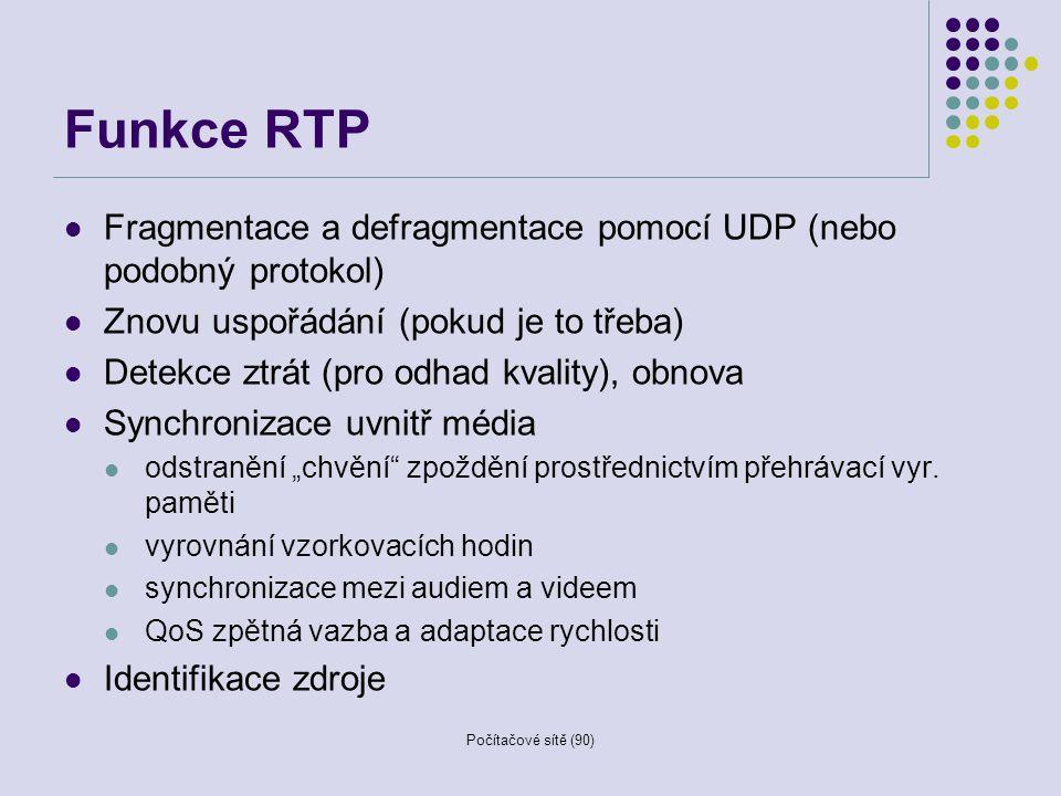 Funkce RTP Fragmentace a defragmentace pomocí UDP (nebo podobný protokol) Znovu uspořádání (pokud je to třeba)