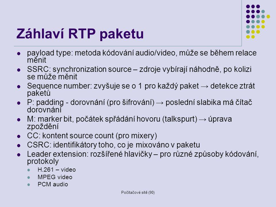 Záhlaví RTP paketu payload type: metoda kódování audio/video, může se během relace měnit.