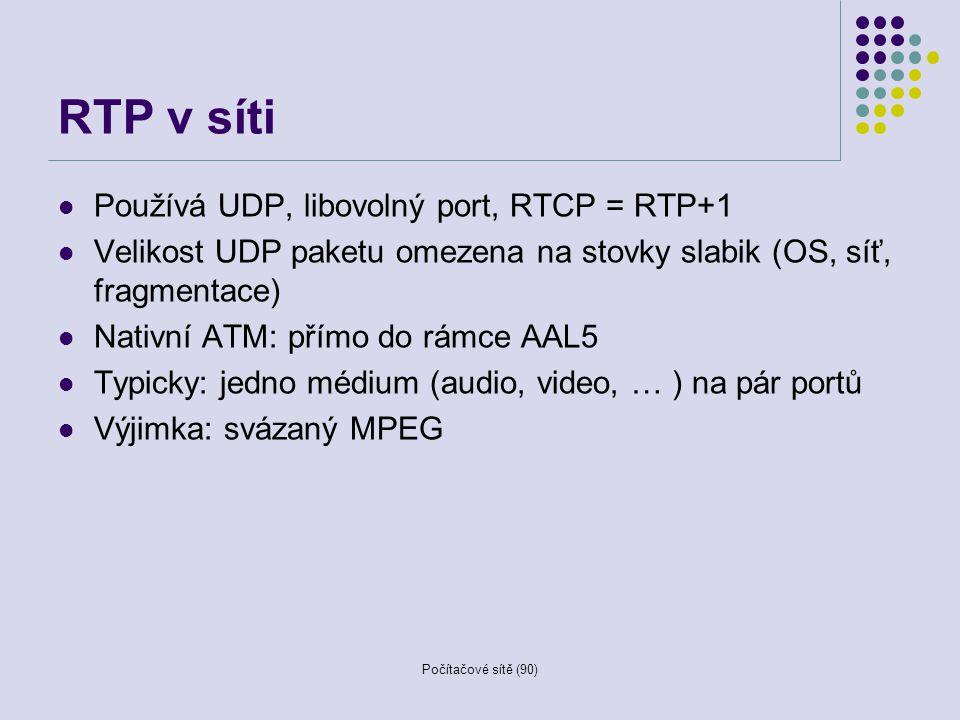 RTP v síti Používá UDP, libovolný port, RTCP = RTP+1