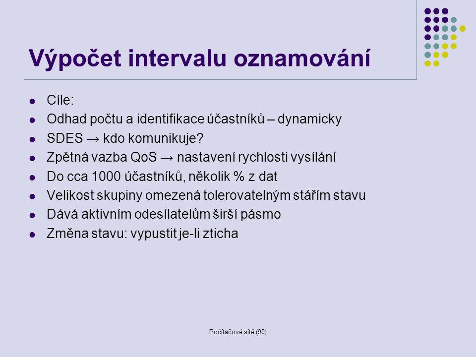 Výpočet intervalu oznamování