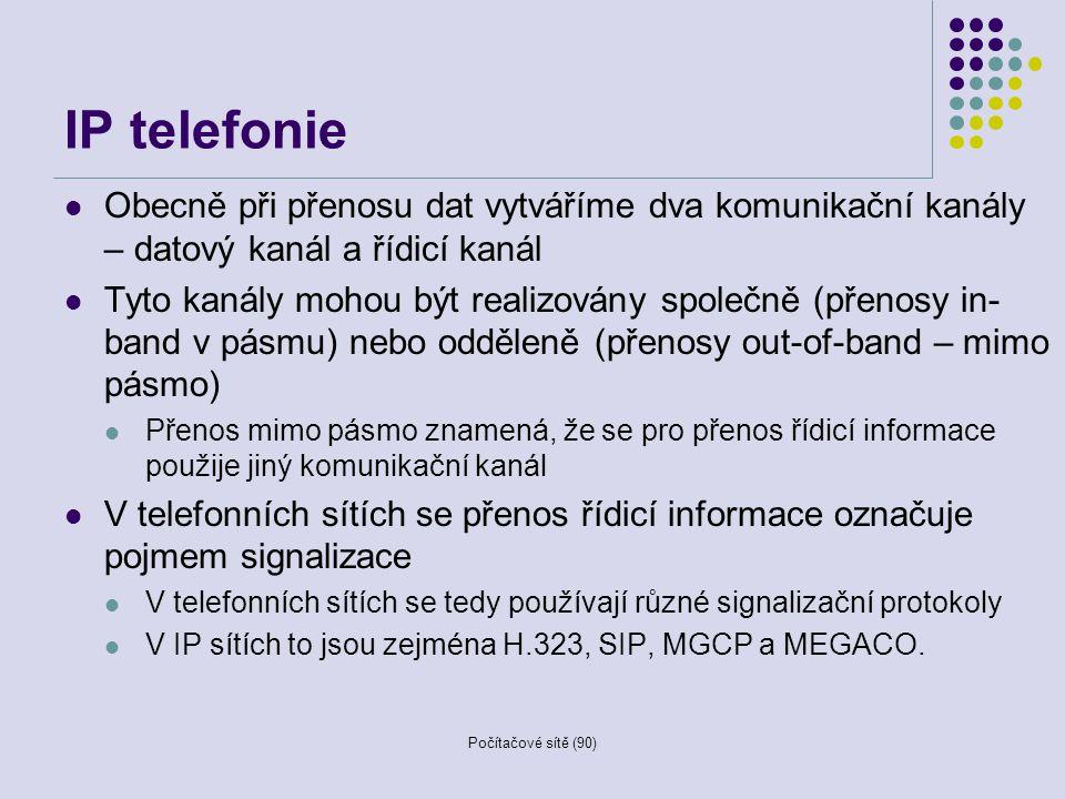 IP telefonie Obecně při přenosu dat vytváříme dva komunikační kanály – datový kanál a řídicí kanál.