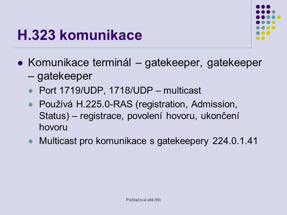 H.323 komunikace Komunikace terminál – gatekeeper, gatekeeper – gatekeeper. Port 1719/UDP, 1718/UDP – multicast.