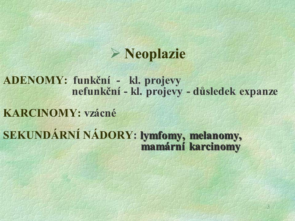 Neoplazie ADENOMY: funkční - kl. projevy