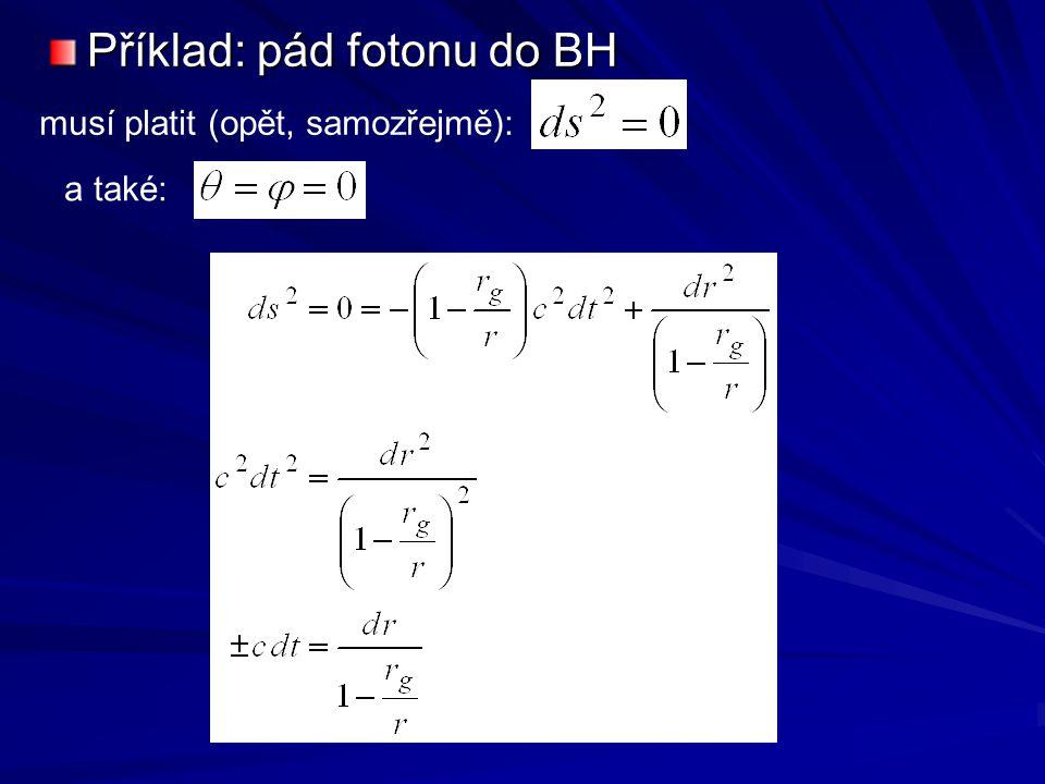 Příklad: pád fotonu do BH