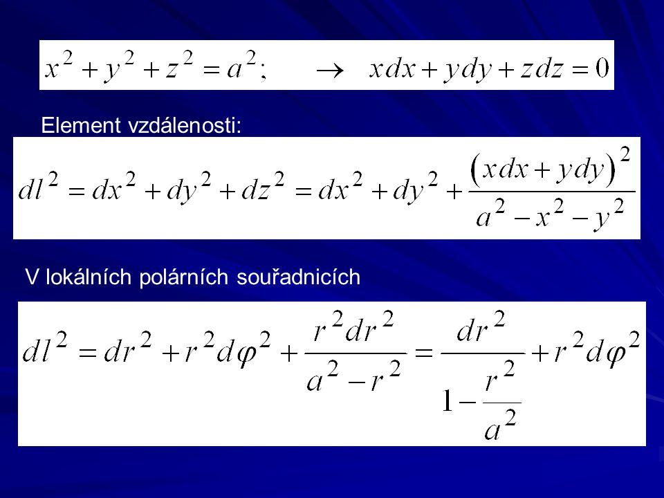 Element vzdálenosti: V lokálních polárních souřadnicích