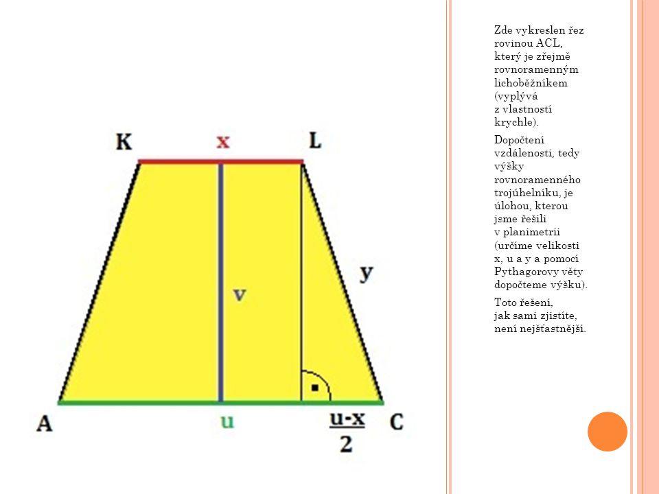 Zde vykreslen řez rovinou ACL, který je zřejmě rovnoramenným lichoběžníkem (vyplývá z vlastností krychle).