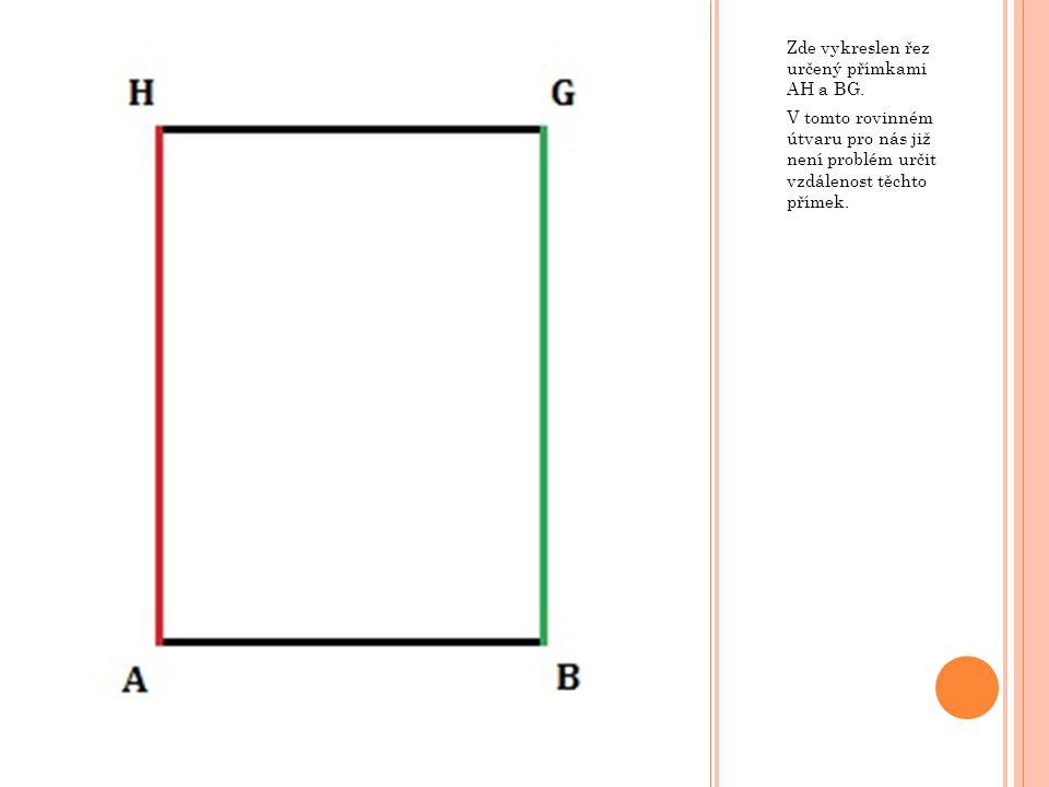 Zde vykreslen řez určený přímkami AH a BG.