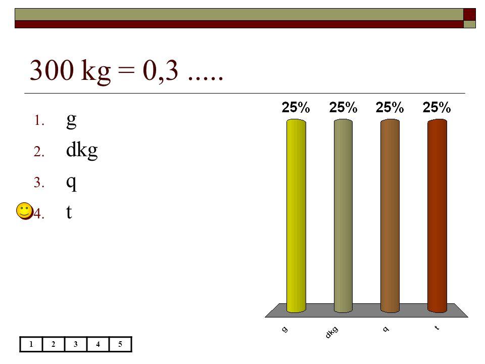 300 kg = 0,3 ..... g dkg q t 1 2 3 4 5