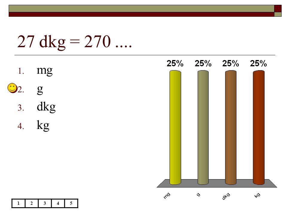 27 dkg = 270 .... mg g dkg kg 1 2 3 4 5