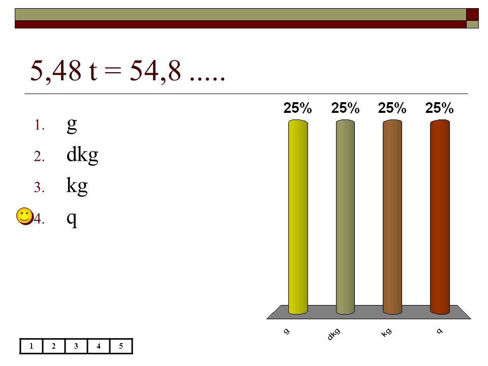 5,48 t = 54,8 ..... g dkg kg q 1 2 3 4 5