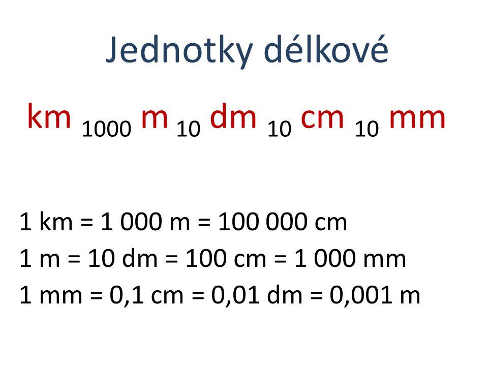Jednotky délkové km 1000 m 10 dm 10 cm 10 mm