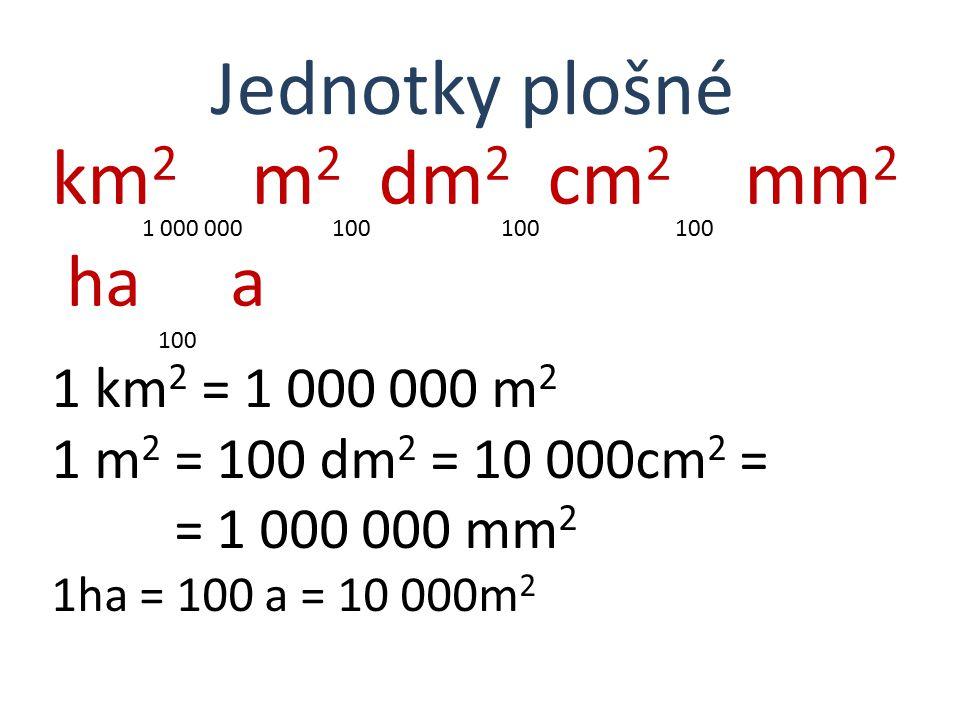 ha 100 a Jednotky plošné km2 m2 dm2 cm2 mm2 1 km2 = 1 000 000 m2