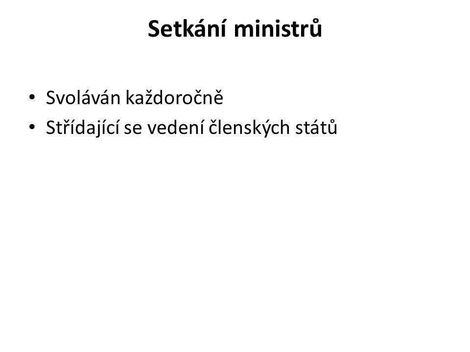 Setkání ministrů Svoláván každoročně