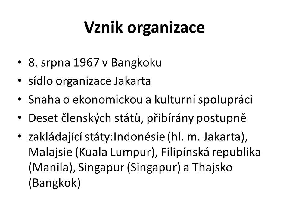Vznik organizace 8. srpna 1967 v Bangkoku sídlo organizace Jakarta
