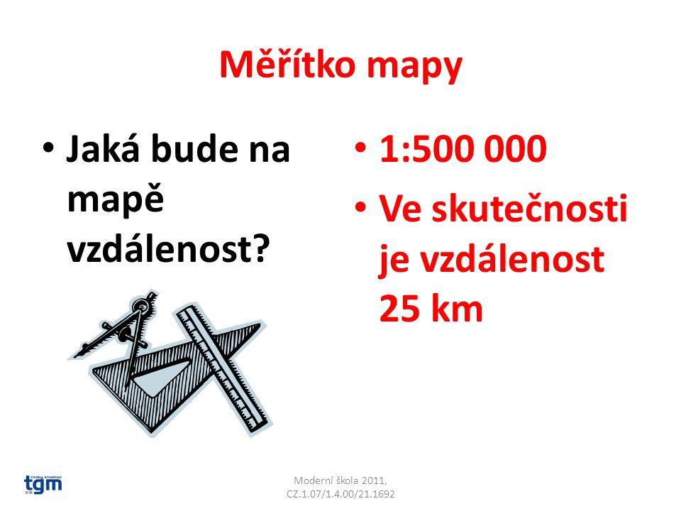 Jaká bude na mapě vzdálenost 1:500 000