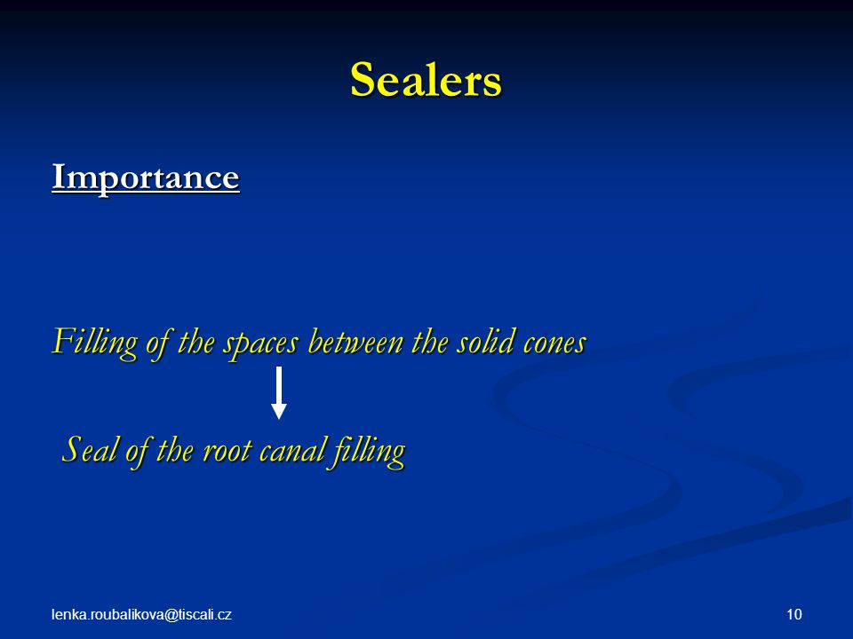 Sealers Importance Filling of the spaces between the solid cones