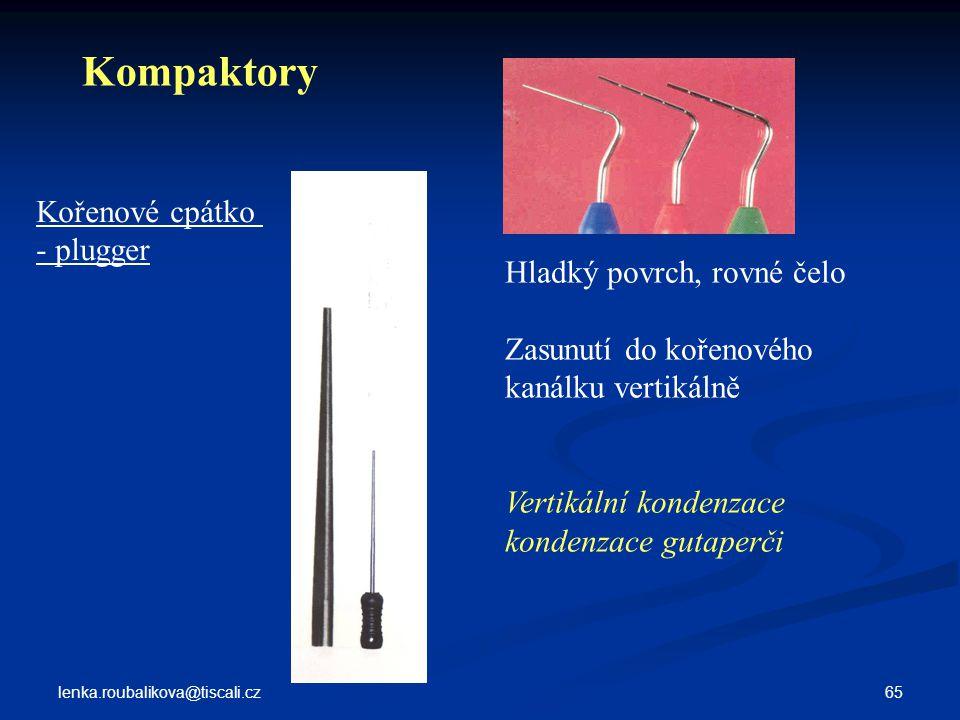 Kompaktory Kořenové cpátko - plugger Hladký povrch, rovné čelo