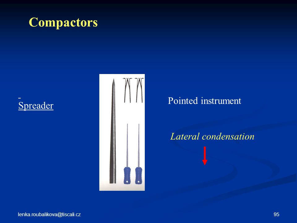 Compactors Spreader Pointed instrument Lateral condensation
