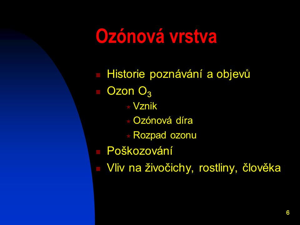 Ozónová vrstva Historie poznávání a objevů Ozon O3 Poškozování