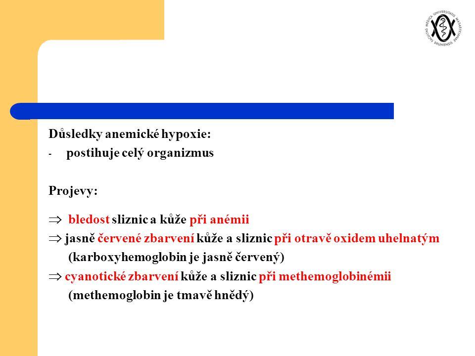 Důsledky anemické hypoxie: