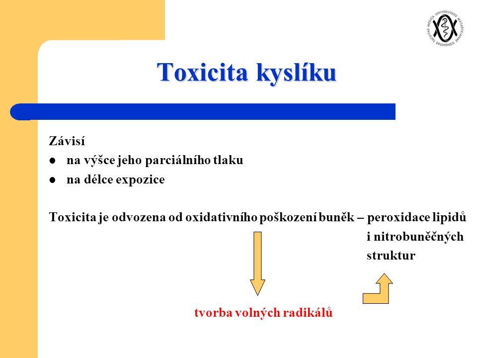 Toxicita kyslíku Závisí na výšce jeho parciálního tlaku