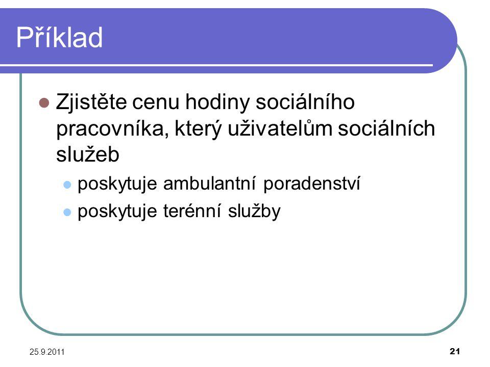 Příklad Zjistěte cenu hodiny sociálního pracovníka, který uživatelům sociálních služeb. poskytuje ambulantní poradenství.