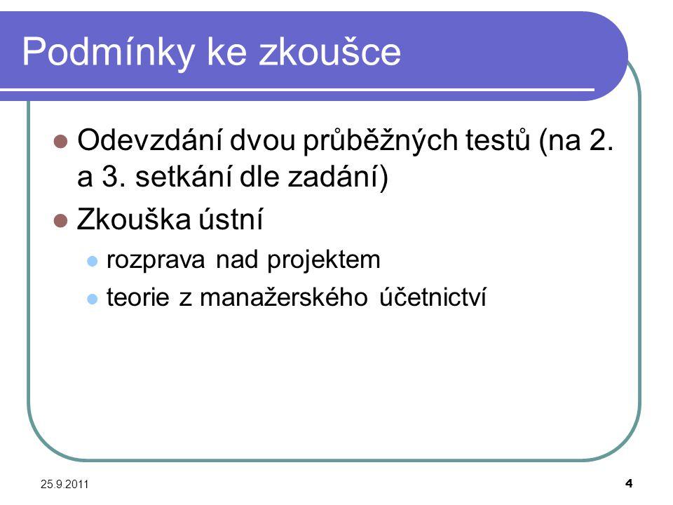 Podmínky ke zkoušce Odevzdání dvou průběžných testů (na 2. a 3. setkání dle zadání) Zkouška ústní.