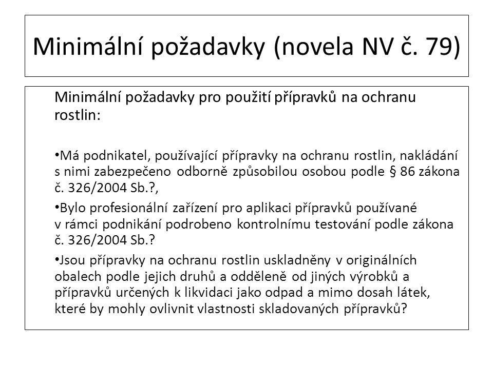 Minimální požadavky (novela NV č. 79)