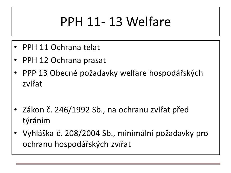 PPH 11- 13 Welfare PPH 11 Ochrana telat PPH 12 Ochrana prasat