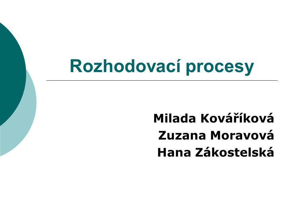 Milada Kováříková Zuzana Moravová Hana Zákostelská