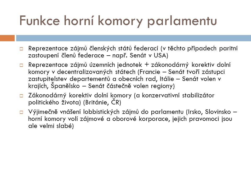 Funkce horní komory parlamentu